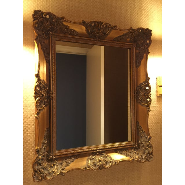 Gold 1970's Vintage French Gilded Gold Framed Mirror For Sale - Image 8 of 10