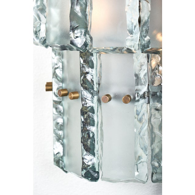 Brass Pair of Vintage Murano Glass Fontana Arte Sconces For Sale - Image 7 of 8
