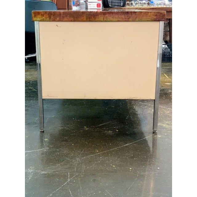 Vintage Allsteel Executive Tanker Desk With Custom Stained Concrete Top in Warm Tones For Sale In Atlanta - Image 6 of 7