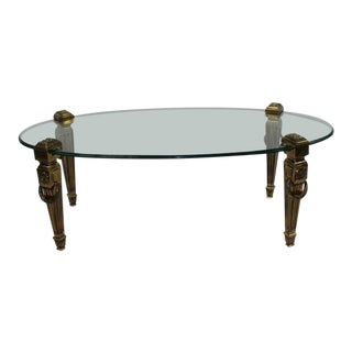 1960s Hollywood Regency Maison Jansen Polished Bronze and Glass Coffee Table For Sale