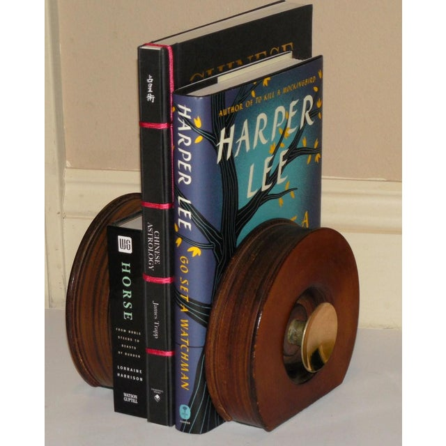 Gold Modernist Round Leather & Brass Bookends - a Pair For Sale - Image 8 of 10