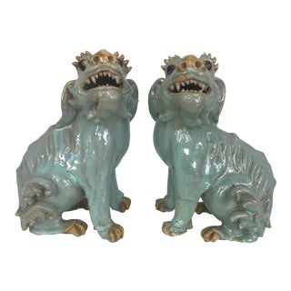 Antique Chinese Shiwan Blue Foo Dogs For Sale