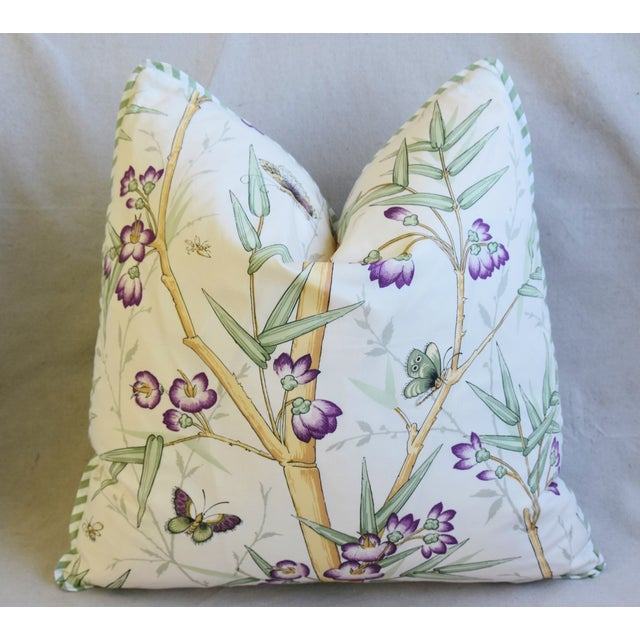 "Clarence House Bamboo Fabric Feather/Down Pillows 21"" Square - Pair For Sale In Los Angeles - Image 6 of 13"