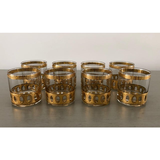 Culver Ltd. Anitigua 22k Culver Old Fashioned Cocktail Glasses With Vintage Brass Tray - Set of 9 For Sale - Image 4 of 13