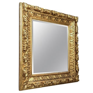 19th Century Baroque Foliate Giltwood Mirror For Sale