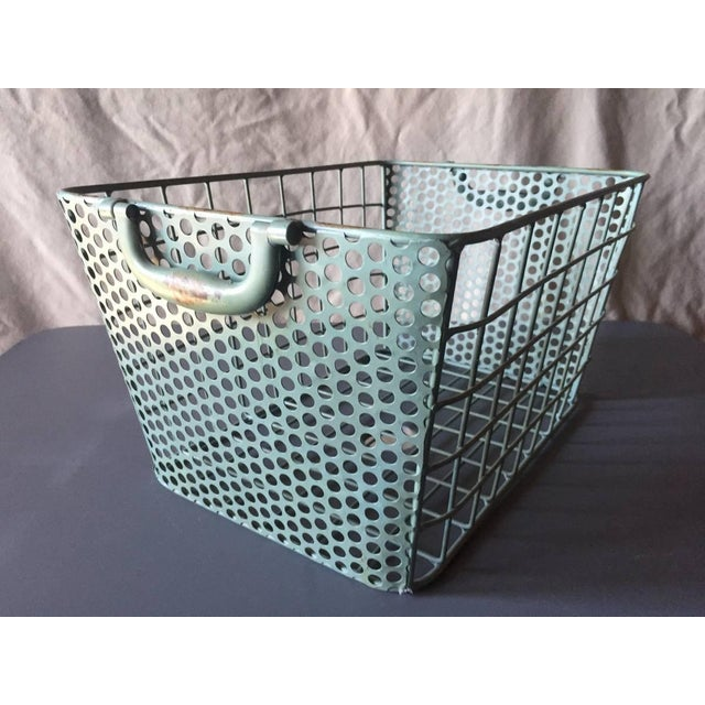 Blue Metal Perforated Industrial Style Basket - Image 2 of 8