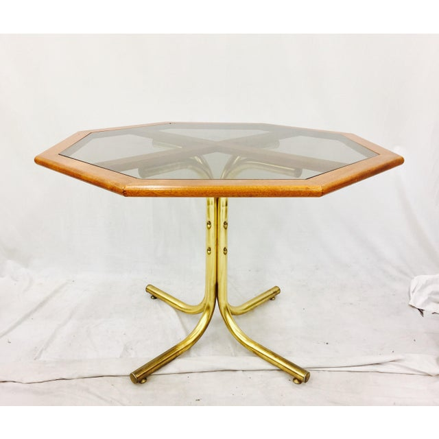 Asian Vintage Mid-Century Modern Chrome Craft Brass & Wood Table For Sale - Image 3 of 10