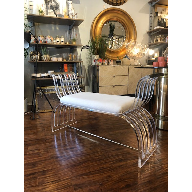 Hill Manufacturing Co. Vintage Hill Manufacturing Lucite Bench For Sale - Image 4 of 8