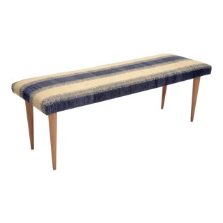 "Adolfo Blue Stripe Kilim 48"" Bench For Sale"