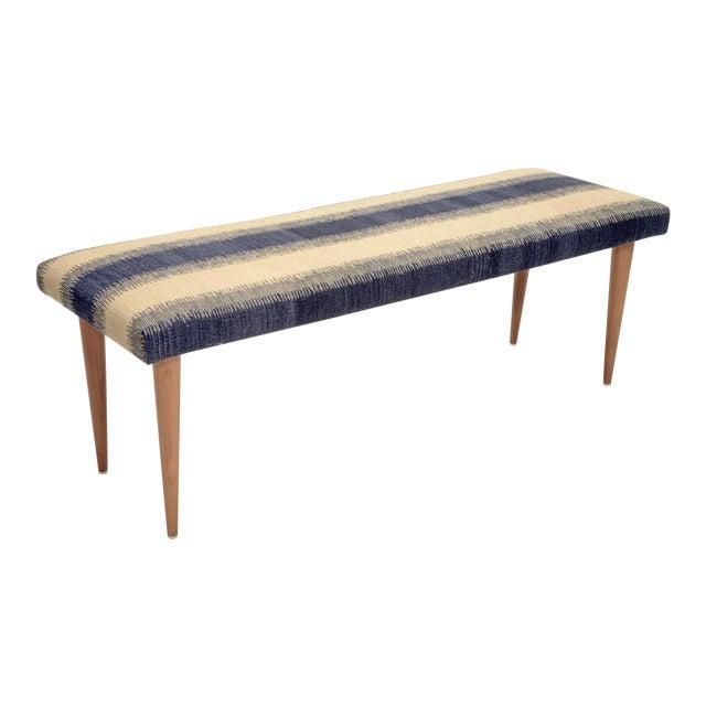 "Adolfo Blue Stripe Kilim 48"" Bench For Sale"
