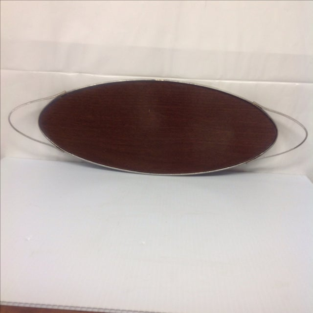Mid-Century Modern Mid Century Chrome and Walnut Formica Tray For Sale - Image 3 of 5