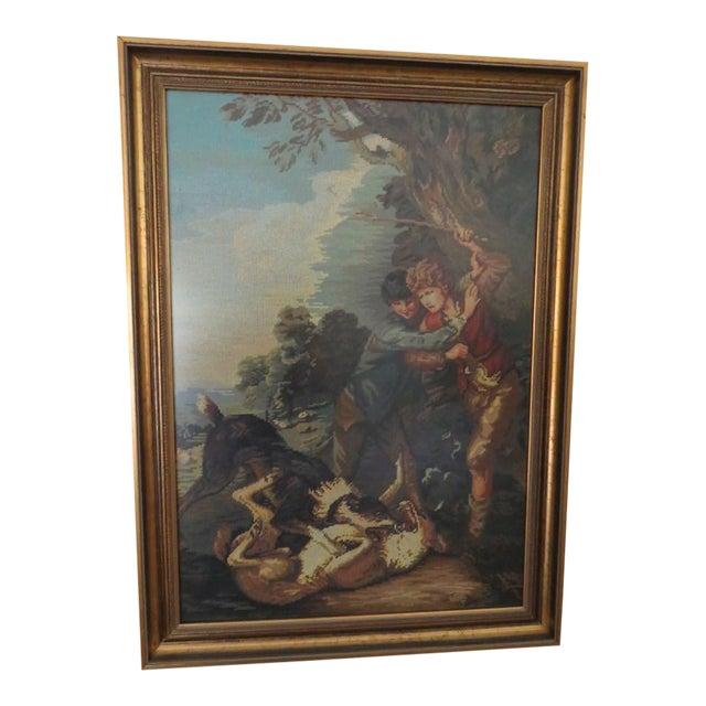 Thomas Gainsborough Style Shepherd Boy Fighting Dog Needlepoint Tapestry Art - Image 1 of 6