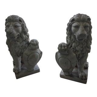 Vintage Sicilian Lions Estate Found Cast Stone Statuary - a Pair