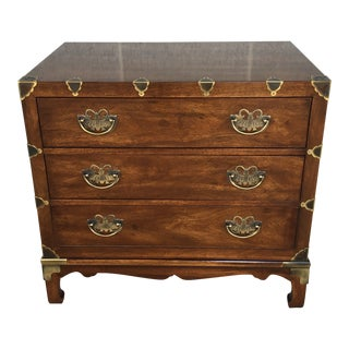 Henredon Walnut Pan Asian Campaign Style Chest of Drawers For Sale