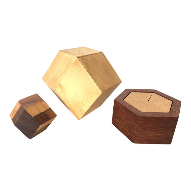 Mid 20th Century Vintage Handcrafted Wood Puzzle Boxes Set Of 3
