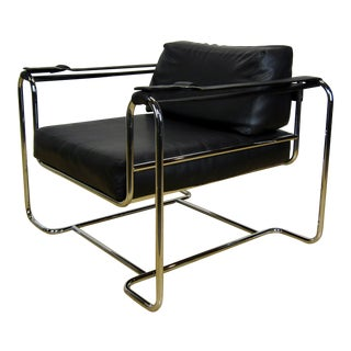 1970s Vintage Selig Modern Chrome & Vinyl Buckle Strap Lounge Chair For Sale