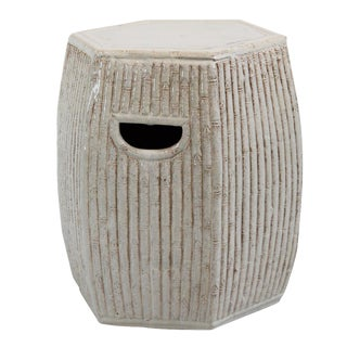 White Ceramic Bamboo Garden Stool For Sale