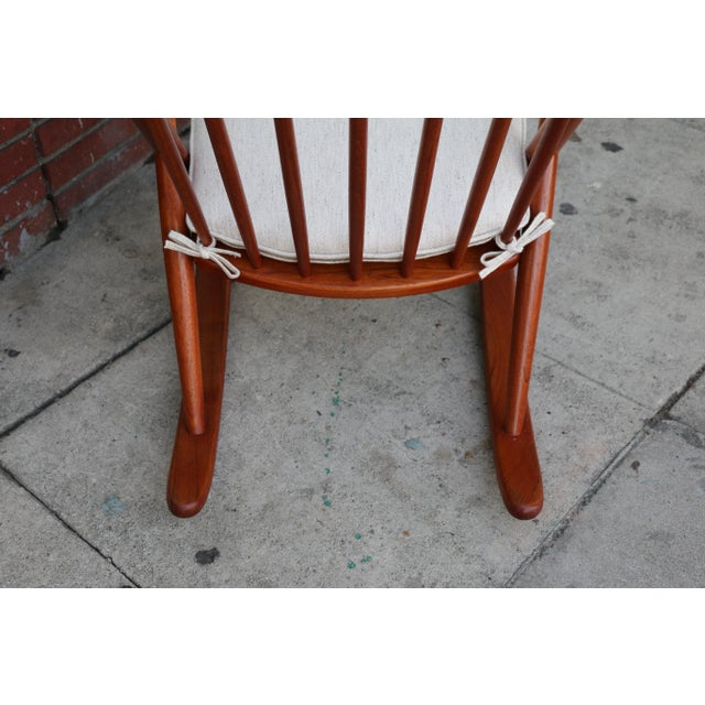 Orange Danish Teak Rocking Chair by Reenshang for Bramin For Sale - Image 8 of 9