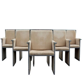 Mid-Century Modern Chrome Beige Set of Six Dining Armchairs For Sale