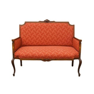 "1940's Antique Floral Inlay Mahogany 45"" Loveseat / Settee For Sale"