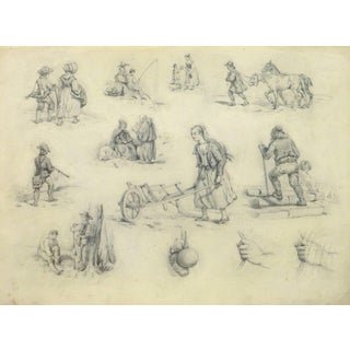 Traditional French Drawing - The Laborers For Sale