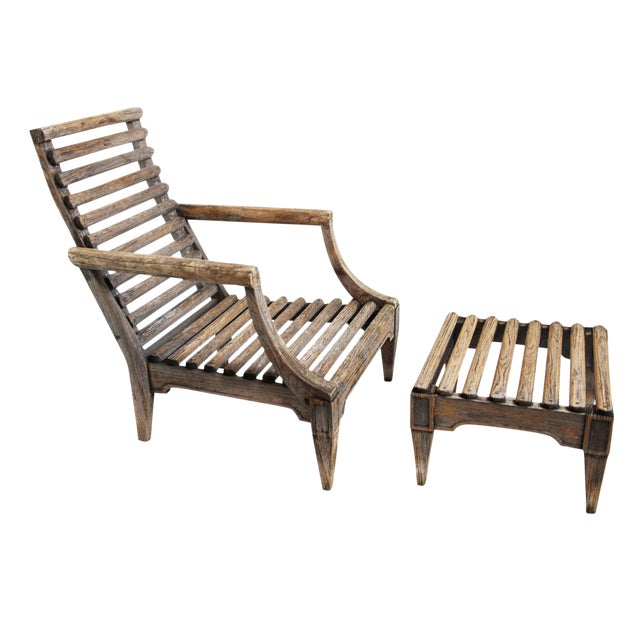Outdoor Teak Slat Arm Chair with Ottoman - Image 1 of 3