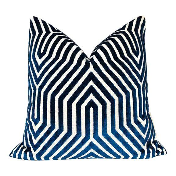 Vanderbilt Velvet Pillow Cover in Navy Blue For Sale