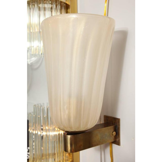 Pair of Murano Glass and Brass Wall Sconces For Sale In New York - Image 6 of 8