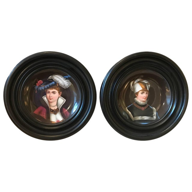 19th Century Traditional Porcelain Portrait Plates With Original Frames - a Pair For Sale