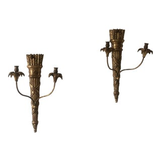 Gilt Hollywood Regency 2-Arm Sconces - a Pair