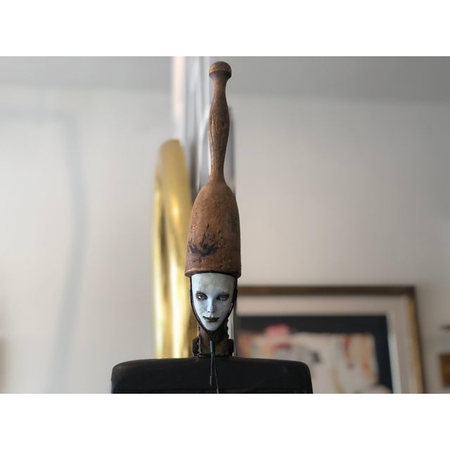 Brown Vintage 2002 Cecilia Z Miguez Sculpture 6-Foot Bronze Wood Granite and Found Objects For Sale - Image 8 of 13