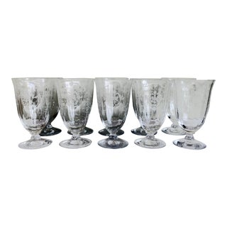1930s Pairpoint Etched Classical Bouquet Tall Glasses - Set of 10 For Sale