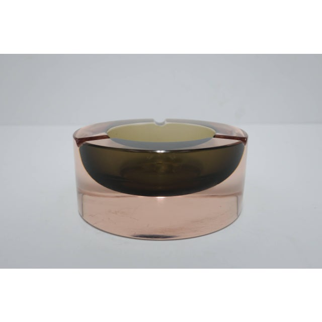 Pink Modern Italian Murano Pink and Grey Sommerso Art Glass Bowl or Ashtray For Sale - Image 8 of 12