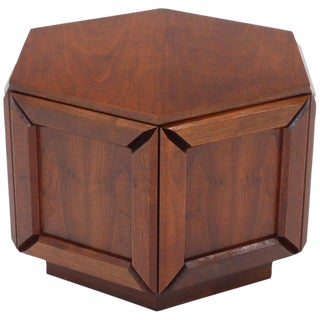 Solid Oiled Walnut Heavy Face Sides Hexagon Shape Side Center Occasional Table For Sale