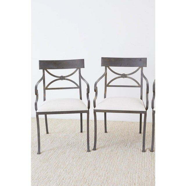 Hollywood Regency Set of Four Regency Style Iron Garden Patio Chairs For Sale - Image 3 of 13