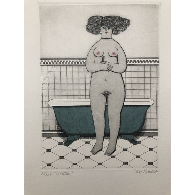 Etching Female Nude Etching Winter Jan Balet Etching 1960s For Sale - Image 7 of 7