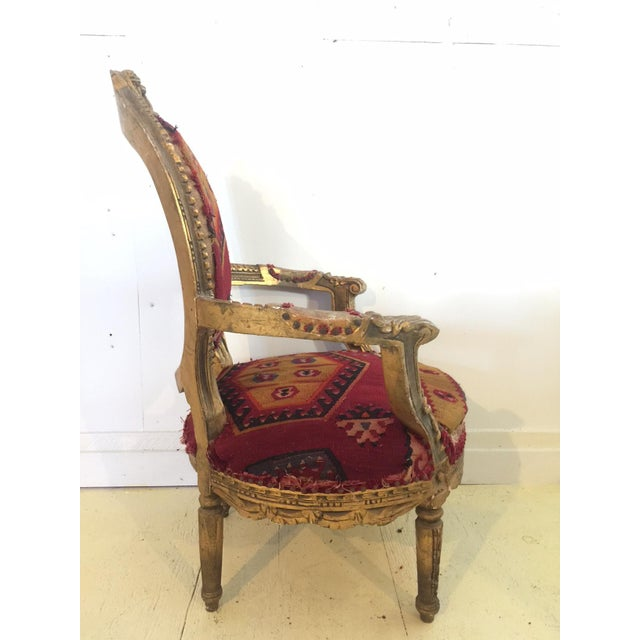 Amazing French Arm Chair Covered in an Antique Turkish Kilim Fabric For Sale In New York - Image 6 of 11