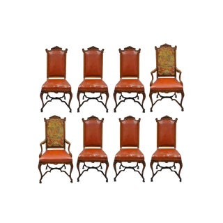 Italian Renaissance Rococo Carved Walnut Needlepoint Leather Dining Chairs- Set of 8 For Sale