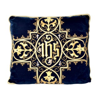 Antique Gothic Revival Gold Embroidered Silk Pillow - 24ʺW × 24ʺH For Sale