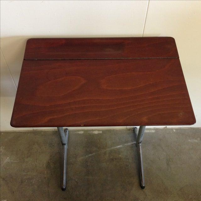 Brown Vintage 1960s Children's School Desk For Sale - Image 8 of 8