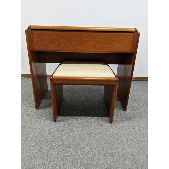 Danish Makeup Vanity With Stool For Sale - Image 10 of 10