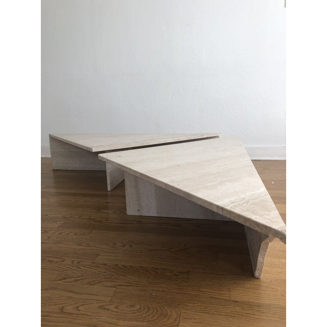 1970s Vintage Travertine Stone Triangle Coffee Table - 2 Pieces For Sale - Image 5 of 13