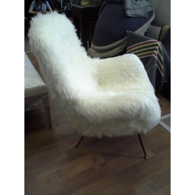 Fritz Neth Fritz Neth Pair of Comfy Lounge Chairs Newly Covered in Sheep Skin Fur For Sale - Image 4 of 9