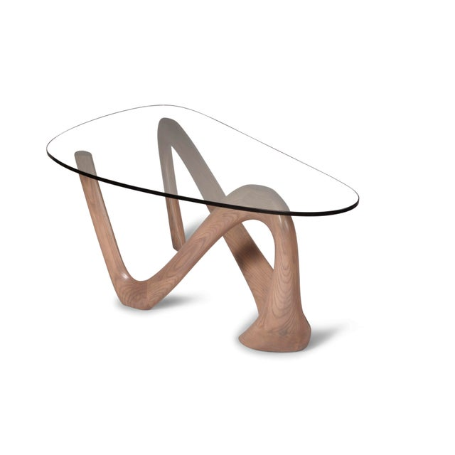Amorph Iris Gray Oak Stained Coffee Table With Glass Top For Sale In Los Angeles - Image 6 of 13