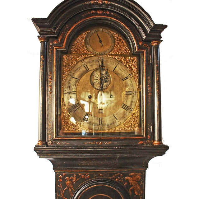 George II Japanned Chinoiserie Longcase Clock by John Crouch, Knightsbridge For Sale - Image 5 of 7