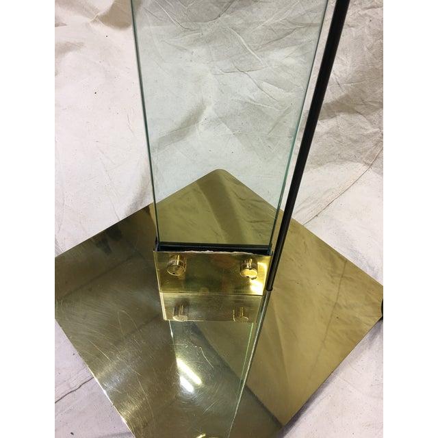Hollywood Regency Italian Brass & Glass Floor Lamp For Sale - Image 3 of 8