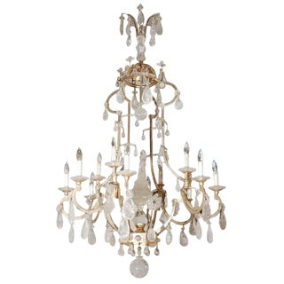 French Style Gilded Iron Rock Crystal Chandelier With Obelisk For Sale