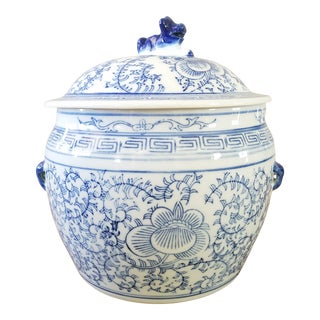Vintage Blue & White Chinoiserie Ginger Jar For Sale