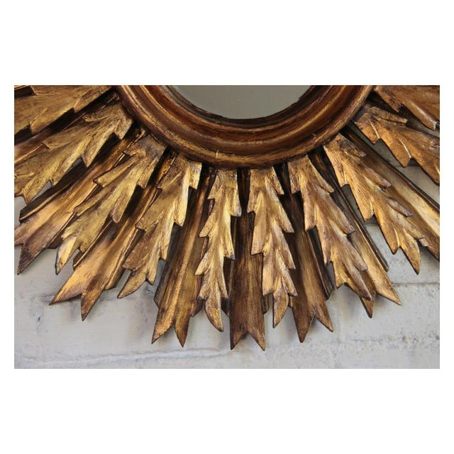 Mid-Century French Double Layer Sunburst Mirror With Original Mirror Glass For Sale In Wichita - Image 6 of 10