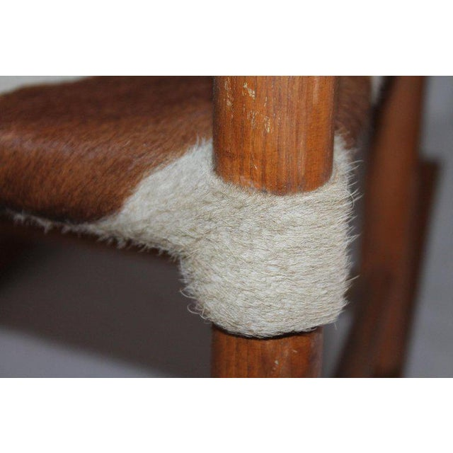 Wood Early 20th Century South West Rocking Chair in Cowhide Seat For Sale - Image 7 of 12